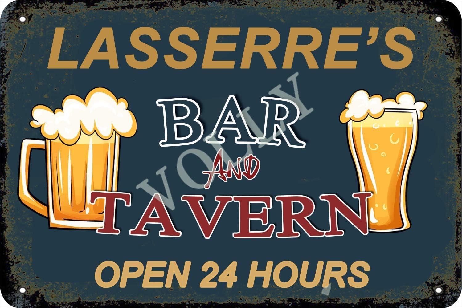 Vvision Lasserre'S Bar and Tavern Open 24 Hours Cartel de Chapa Metal Advertencia Placa de Chapa de Hierro Retro Cartel Vintage para Dormitorio Pared Familiar Aluminio Arte Decoración