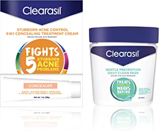 Clearasil Stubborn Acne Control 5-in-1 Concealing Treatment Cream (1 oz.) & Gentle Prevention Daily Cleansing Pads (90 Count)- Benzoyl Peroxide and Salicylic Acid Acne Treatments, 1 Each