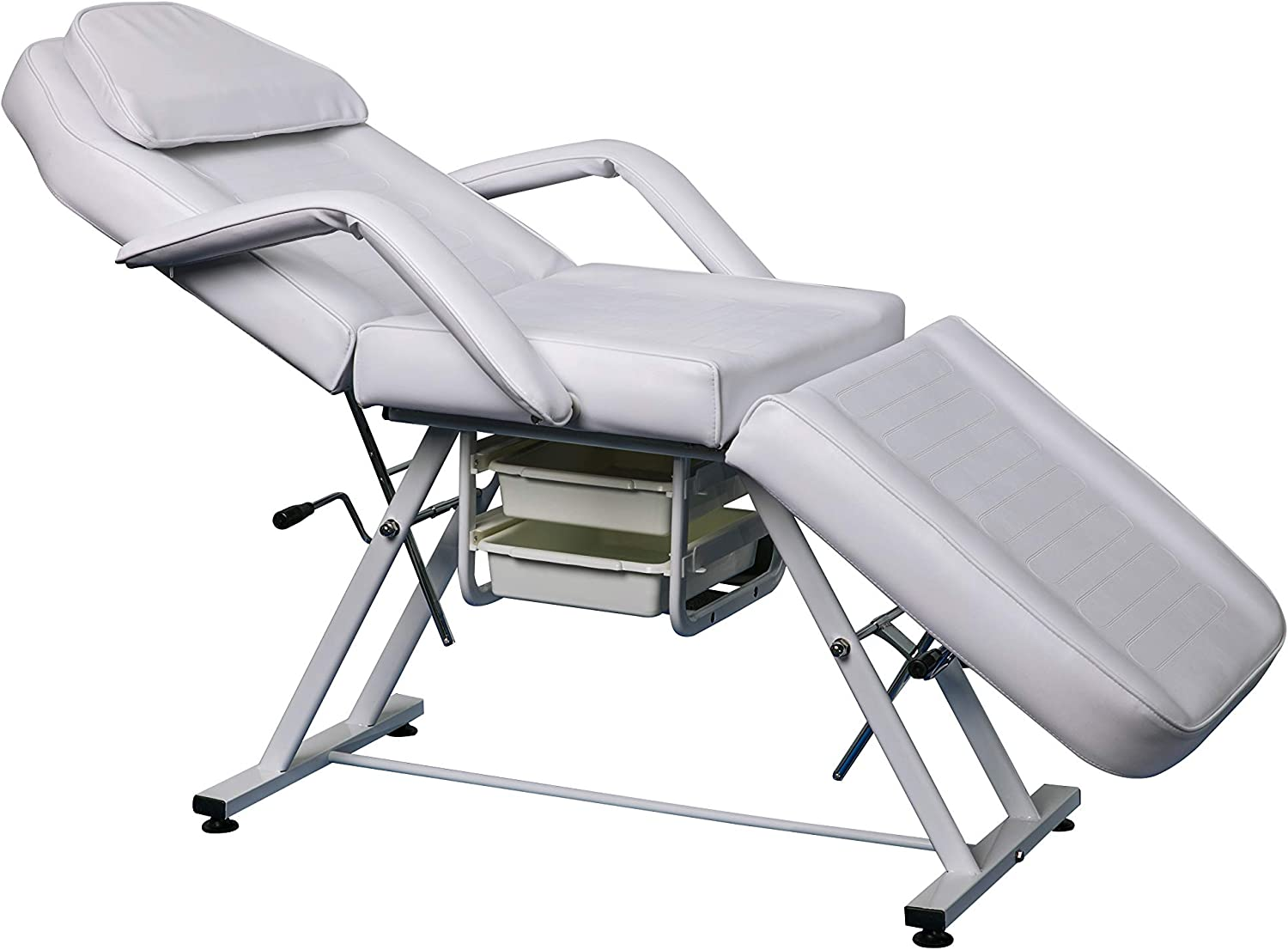 Adjustable Salon SPA Massage Bed Tattoo Chair Facial Eyelash Extension  Table With 5 Drawers (White)