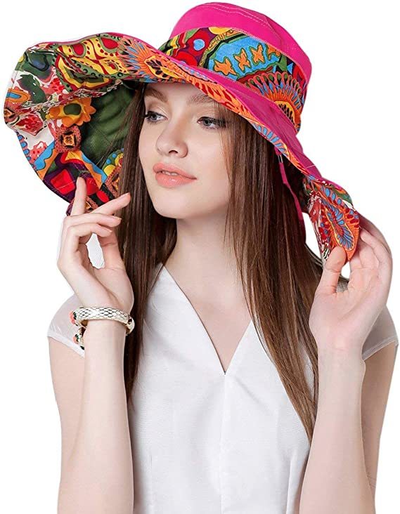 Hippie Hats,  70s Hats Womens Foldable Floppy Reversible Travel Beach Sun Visor Hat Wide Brim UPF 50+  AT vintagedancer.com