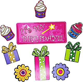 Car Magnet Birthday Banner with Assorted Cupcakes, Presents and Flowers, Party Decoration for Parades, Fridge, Lockers