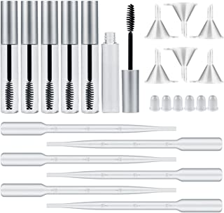 Madholly 6 pack 10ml Empty Mascara Tube with Eyelash Wand, Rubber Inserts, Funnels and Transfer Pipettes for Castor Oil, I...
