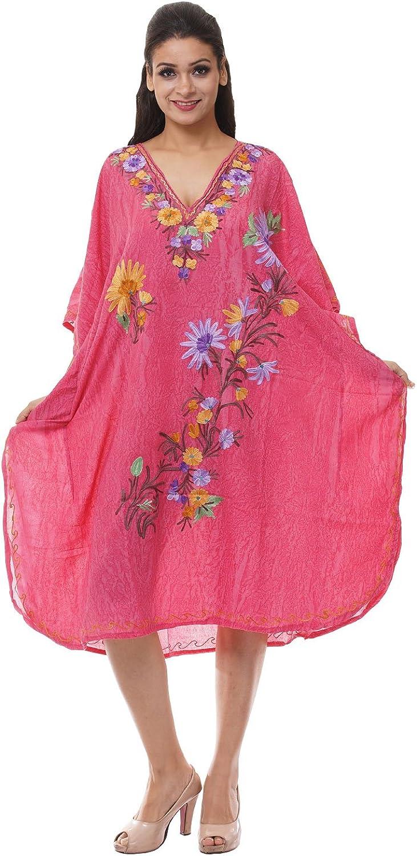 Odishabazaar Kashmiri Embroidered Womens Beachwear Cover up Swimsuit Swimwear Dress Caftan(uik-264)