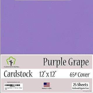 Grape Purple Cardstock - 12 x 12 inch - 65Lb Cover - 25 Sheets