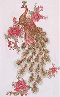 Elegant Red Sequins Peacock Phoenix Feather Mesh Embroidery Applique Decoration Cloth Patches Cheongsam Garment Accessories