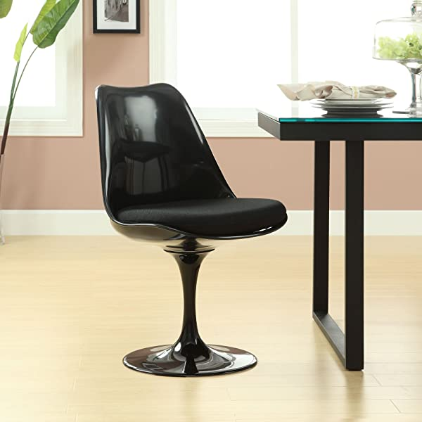 Modway Lippa Mid Century Modern Upholstered Fabric Dining Room Chair In Black
