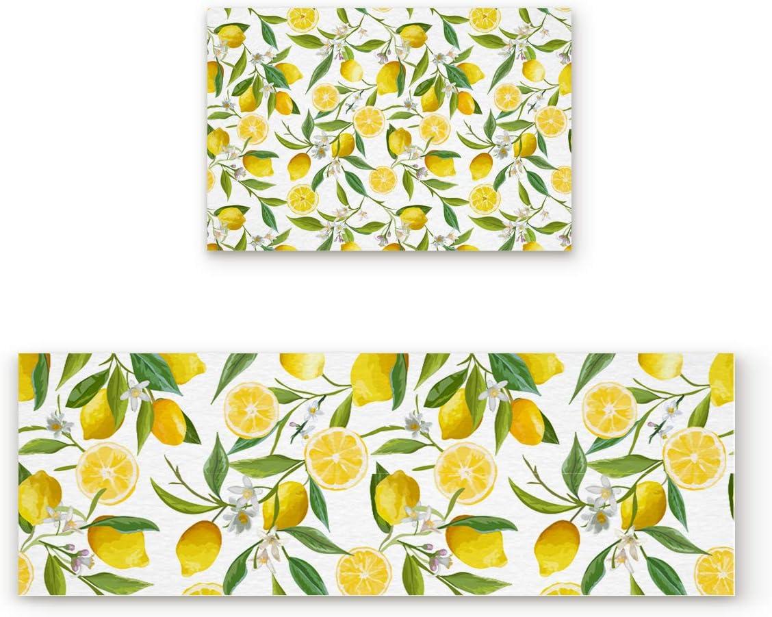Lemon Kitchen Sales Max 77% OFF Floor Mat Set of 2 Slip Washable Non Rugs Ind for