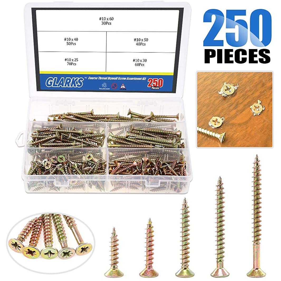 Glarks 250Pcs 5 Size #10 Coarse Thread Phillips Drywall Screws with Bugle Head for Drywall Sheetrock, Ceiling and Wood - Zinc Plated Carbon Steel