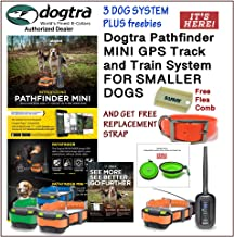 Dogtra 3 Dog Pathfinder Mini GPS Track and Train System for Smaller Breed Dogs GET 1 Free Replacement Strap and Flea Comb