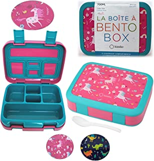 Unicorn Bento Lunch Box for Girls Toddlers, 5 Portion Control Sections, BPA Free Removable Plastic Tray, Pre-School Kid To...