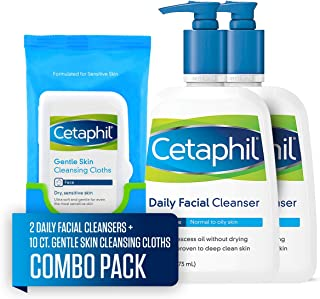 Cetaphil Daily Facial Cleanser for Normal to Oily Skin, Two 16-oz. Bottles, plus 10-ct. Cetaphil Gentle Skin Cleansing Cloths for Dry, Sensitive Skin (Combo Pack)