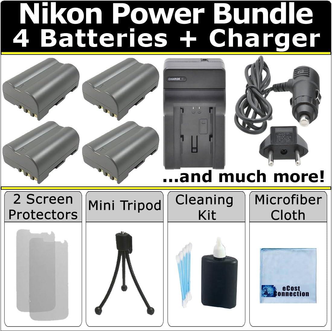 eCost Power Bundle: 4 EN-EL3E Batteries DC wi Charger Cheap Max 83% OFF sale AC Turbo +
