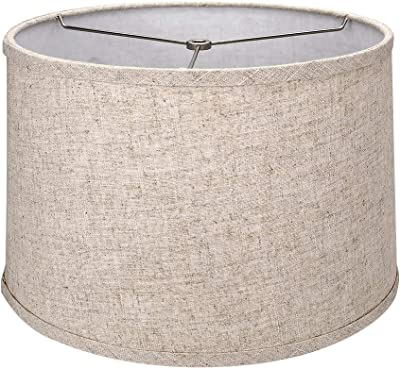 """Tootoo Star Brown Lamp Shade Large Drum Lampshade for Chandeliers Floor Light and Table Lamp 13x14x9"""", Fabric Natural Linen Hand Crafted, Spider"""