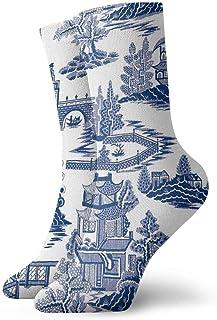 Ming China - Blue And White Chinoiserie Throw Pillow Painting Classics Compression Socks Svetlana Novikova Athletic Long C...