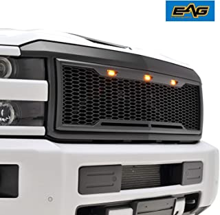 EAG Replacement Upper Grille ABS Mesh Grill with Amber LED Lights - Matte Black - Fit for 15-19 Chevy Silverado 2500 3500 Heavy Duty