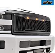 EAG Replacement Upper Grille ABS Mesh Grill withAmberLEDLights -MatteBlack - Fit for 15-19 Chevy Silverado 2500 3500 Heavy Duty