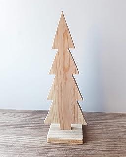 Árbol de Navidad de madera de pino natural y estilo minimalista - Altura: 26 cm - Decoración escandinava para el hogar