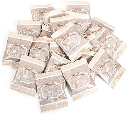 25 Stück kleine Päckchen Gummibärchen give-away - Geschenk SCHÖN DASS DU DA BIST BEIGE CREME-FARBEN WEISS Gastgeschenke Mitgebsel Hochzeit Geburtstag Fest Feier Gäste vintage