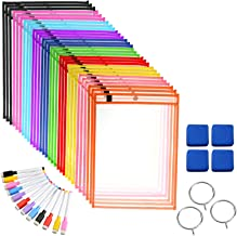 """Pinshion 30 Pack Dry Erase Pocket Sleeves, Reusable & Oversized 10"""" x 13"""" Dry Erase Pockets Sheet Mixed Colors Clear Durab..."""