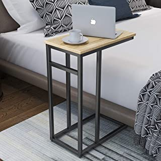 Homemaxs C Table Sofa Side Table for Small Space, Snack Table with Wood Finish and Steel Construction for Couch and Bedside