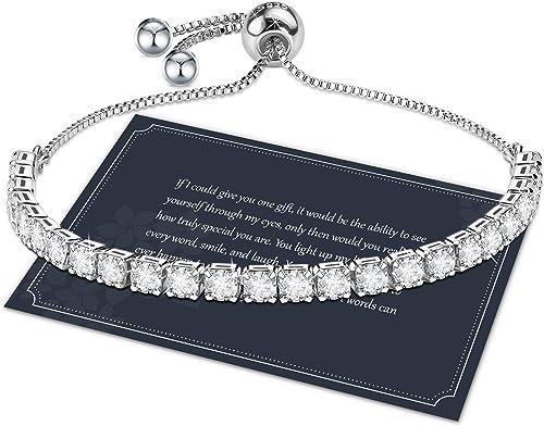 J.Fée Sterling Silver Bracelet, S925 Tennis Bracelet Sparkling 5A Cubic Zirconia Adjustable Bracelet for Women Girls ...