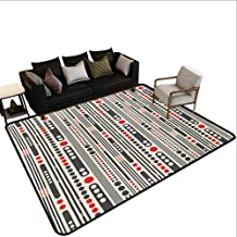 Home Custom Floor mat,Vertical Stripes and Circles Minimal Geometrical Graphic Design 6'x8',Can be Used for Floor Decoration