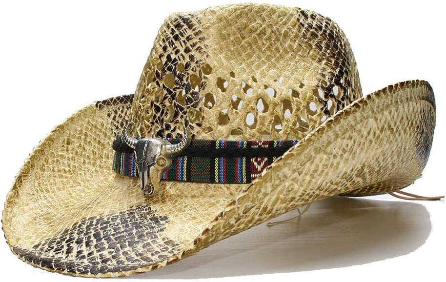 CHENJUNAMZ Wide Brim Straw Sun Hat for Women Men Beach Hollow Ou