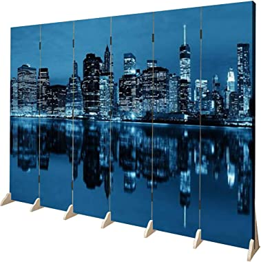 APED DECOR Wood Screen Room Divider Manhattan at Night Folding Screen Canvas Privacy Partition Panels Dual-Sided Wall Divider