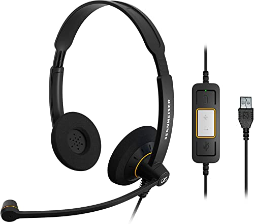 discount Sennheiser Consumer Audio SC 60 USB popular ML (504547) - Double-Sided Business Headset | For high quality Skype for Business | with HD Sound, Noise-Cancelling Microphone, & USB Connector (Black) online sale