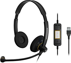 Sennheiser SC 60 USB ML (504547) - Double-Sided Business Headset   For Skype for Business   with HD Sound, Noise-Cancelling Microphone, & USB Connector (Black)