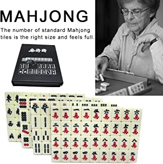 Mahjong Mat Chinese Numbered Large Acrylic Tiles Portable Carving Travel Mahjong 2CM Premium Mahjong Set 144 for Family Party Table Game
