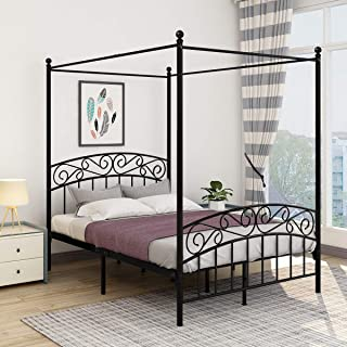 JURMERRY Queen Size Metal Canopy Bed Frame with Ornate European Style Headboard & Footboard Sturdy Black Steel Holds 660lbs Perfectly Fits Your Mattress Easy DIY Assembly All Parts Included