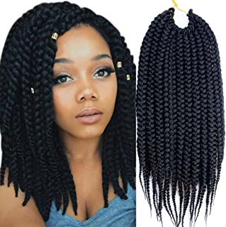 VRHOT 6Packs 12'' Box Braids Crochet Hair Pre Looped Crochet Braids 3S Soft Synthetic Hair Extensions Hairstyles Braiding Hair Style Dreadlocks for Black Women 12 inch (12 inch, 1B#)