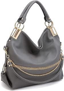 Women Classic Large Hobo Bag Rhinestone Chain Shoulder Bag Top Handle Purse