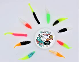 18 St/ück Forellenk/öder Diverse Formen /& Farben Knoblauch /& K/äse Aroma Magic Trout T-Worm Feinripp Gummi-Wurm Set
