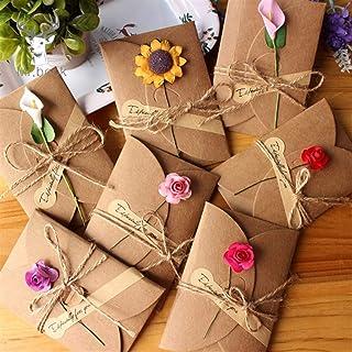 10pcs Retro DIY Kraft Paper Invitation Greeting Card with Envelope Handmade Dry Flower Wedding Party Invitation Envelopes ...