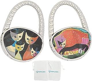 ROFLYER Various Design Metal Purse Hook Foldable Folding Handbag Hanger,Set of 2