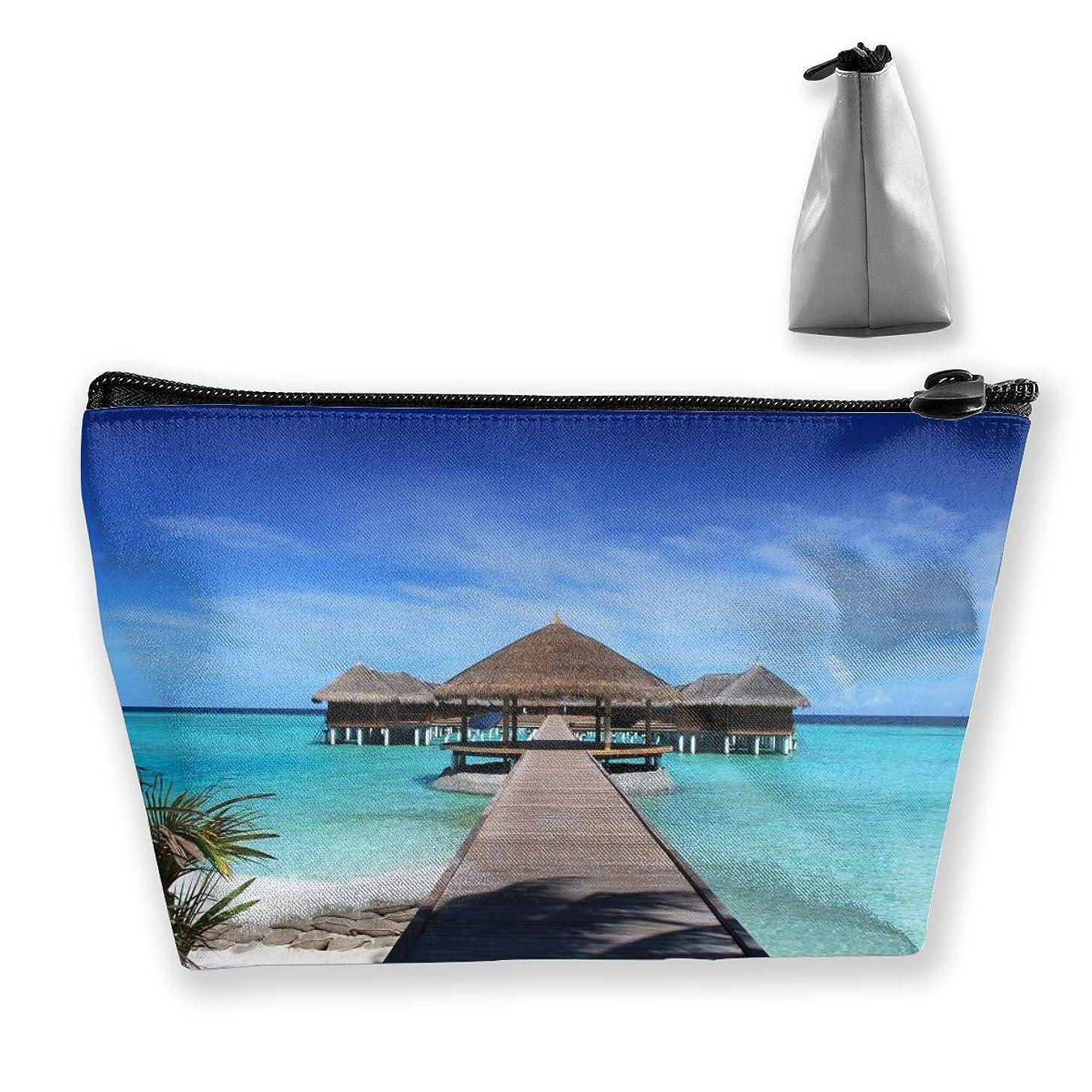 お勧め半径再生的Szsgqkj モルディブの休日のビーチ 化粧品袋の携帯用旅行構造の袋の洗面用品の主催者