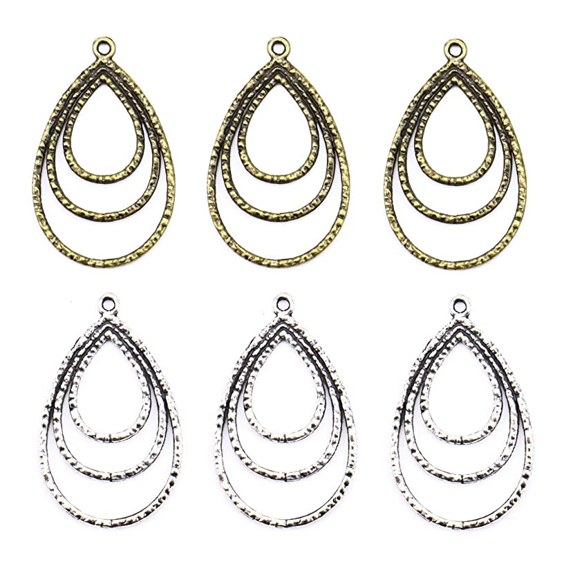 Monrocco 20 Pieces Multi-Layer Chandelier Earring Teardrop Earring Hoops Jewelry Making for Earring Drop Charm (Antiqued Bronze and Silver)
