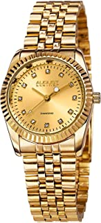 August Steiner Classic Women's Watch - 12 Genuine Diamond Hour Markers - Coin Edged Bezel On Stainless Steel Bracelet - AS...