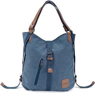JOSEKO Canvas Tasche, Damen Rucksack Handtasche Vintage Umhängentasche Anti Diebstahl Hobotasche für Alltag Büro Schule Ausflug EinkaufBlau