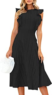 Womens Dresses Elegant Ruffles Cap Sleeves Summer A-Line...