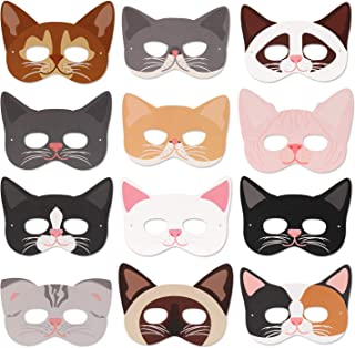 Cat Masks Kitten Masks Halloween Masks for Cat Party Kitty Party Kids Costumes Photo Prop Dress Up(12 Pcs)