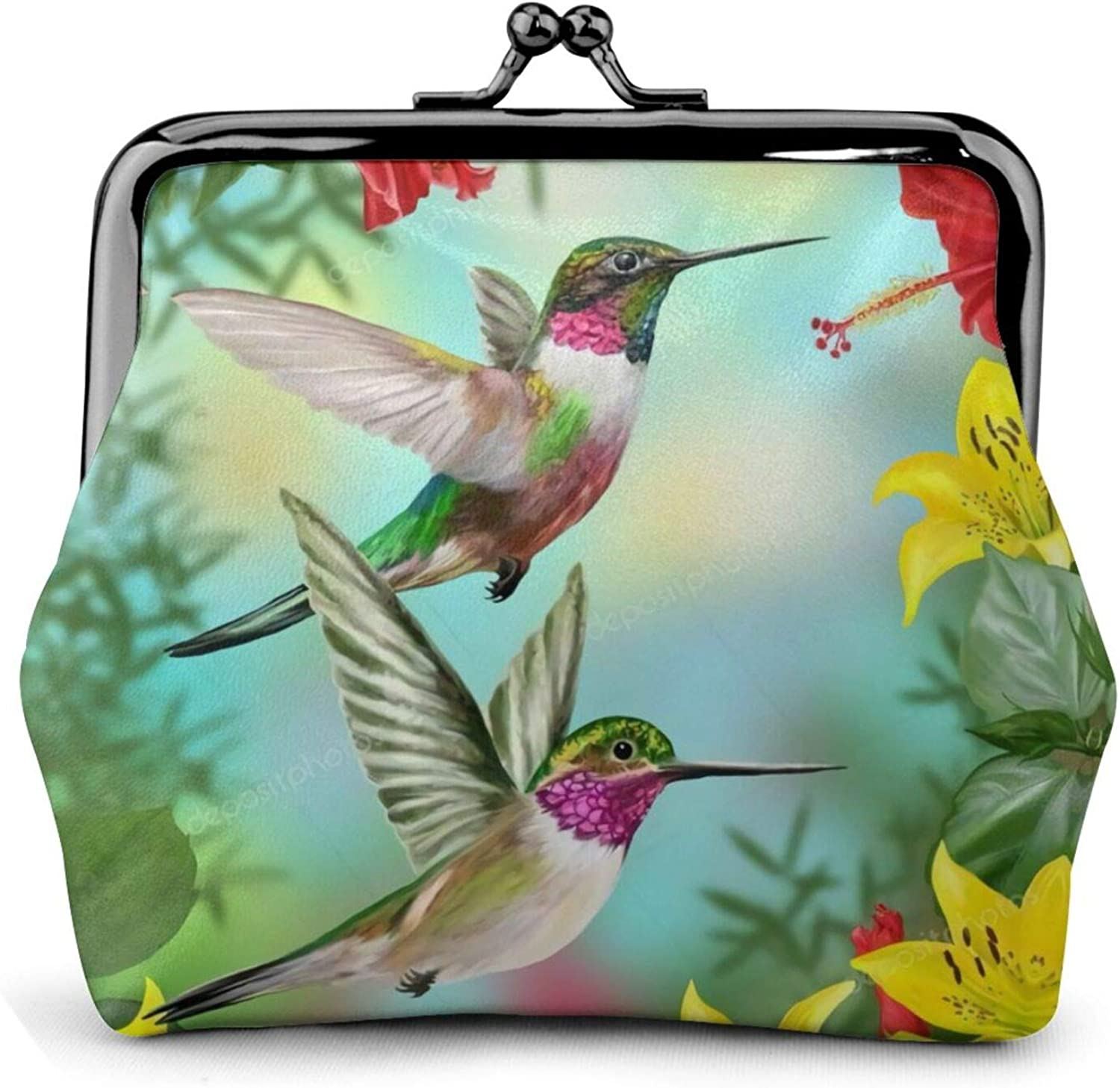 Hummingbirds Red Flower Hibiscus Yellow LiliesBuckle Coin Purses Women's Kiss-lock Closure Mini Vintage Pouch Leather Hasp Makeup Wallets Card Holder Cute for Men Women Girls Bags