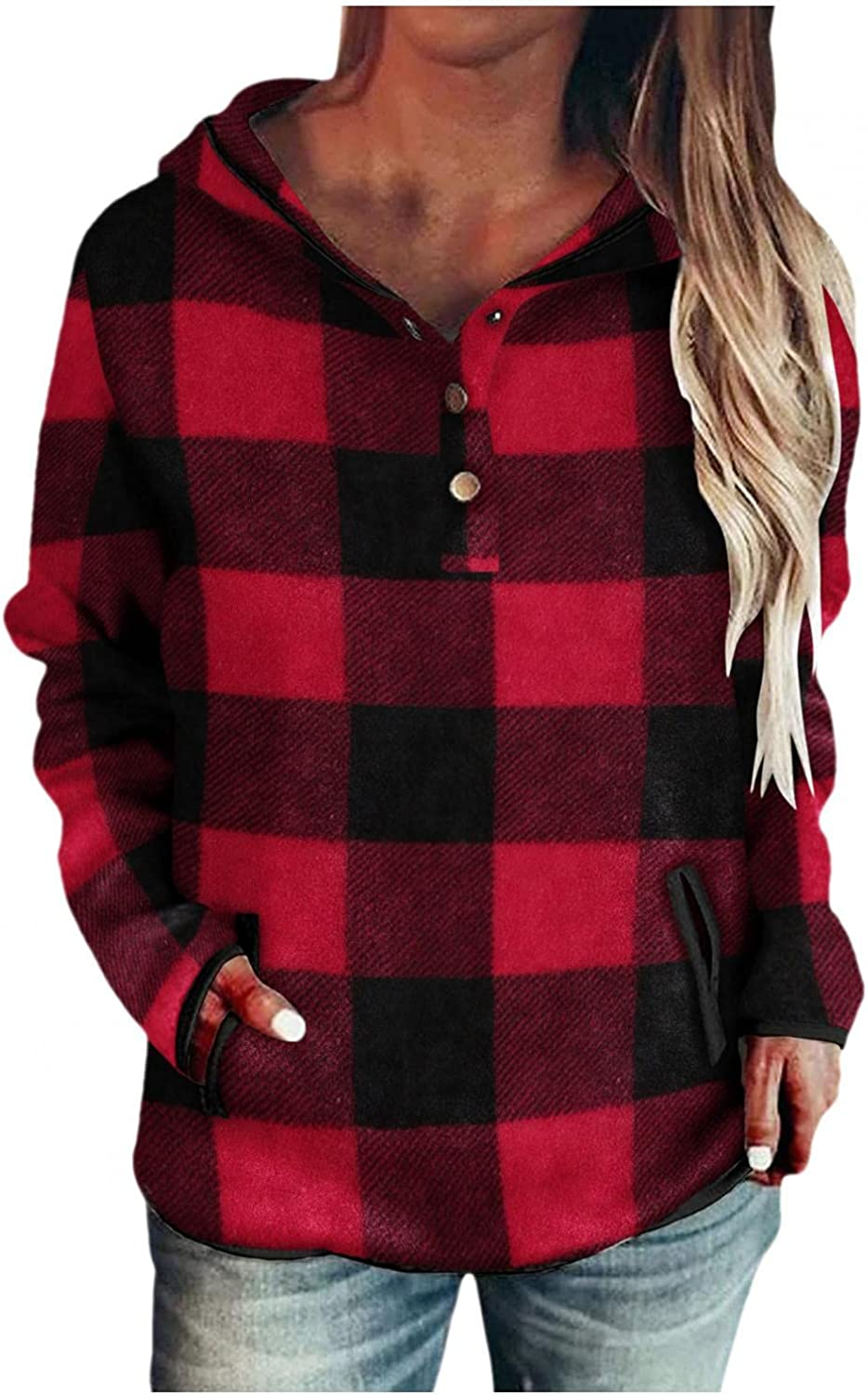 Hoodies for Women Casual Aesthetic Plaid Shirts Tops Long Sleeve Hooded Drawstring Pullover Loose Sweatshirts with Pocket