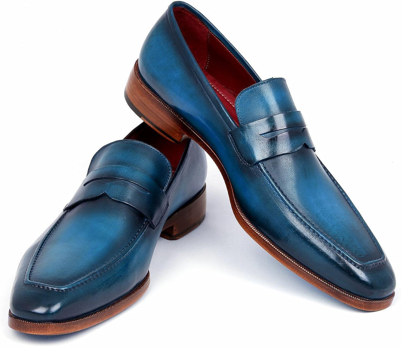 Paul Parkman Men's Penny Loafer Blue & Turquoise Calfskin Shoes (ID#10TQ84)