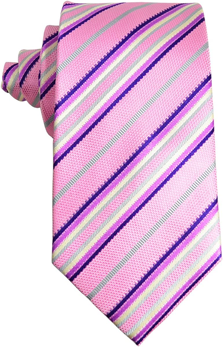 Pink Striped Silk Tie and Pocket Square Paul Malone Red Line