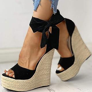 DQS Marque 2020 Plate-Forme Sexy compensées Talons Hauts Chaussures Sandales Femmes Paille fête d'été Cheville-Wrap Chauss...