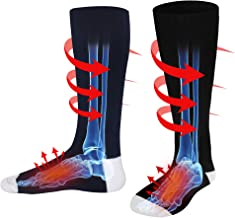 Autocastle Men WomenRechargeable Electric Heated Socks Battery Heat Thermal Sox,Sports Outdoor Winter Novelty Warm Heating Sock,Climbing Hiking Skiing Foot Boot Heater Warmer(Black/Grey/Navy,L)