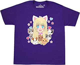 inktastic Neko Anime Girl with Kittens Youth T-Shirt